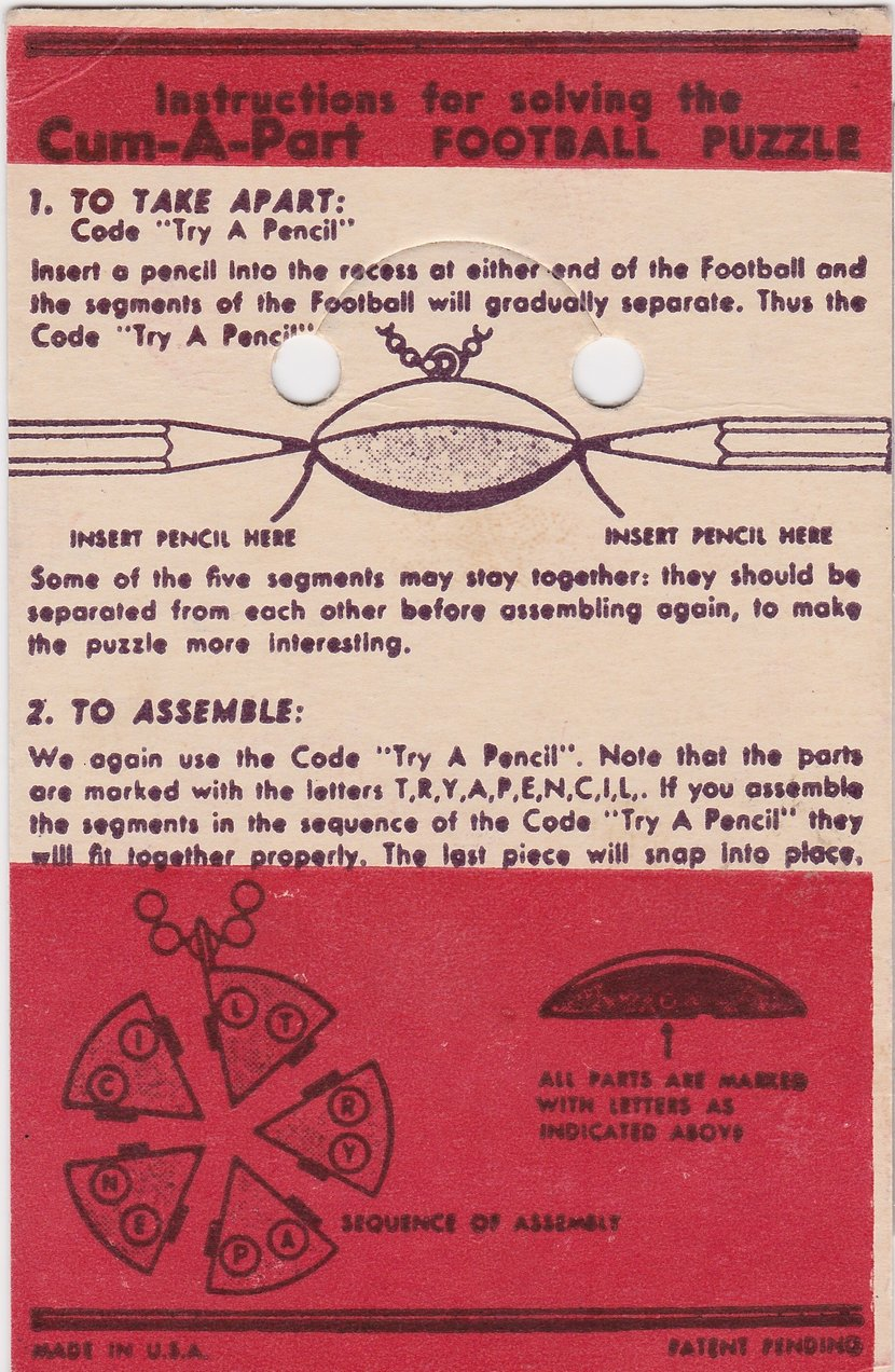 Keychain Cum-A-Part Football Card